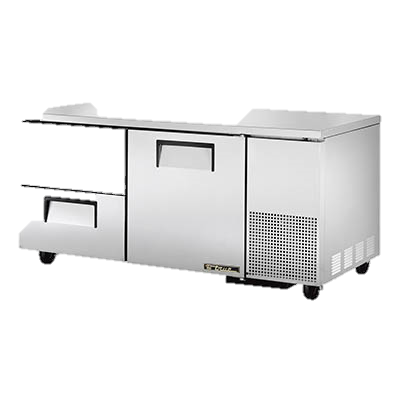 "superior-equipment-supply - True Food Service Equipment - True Stainless Steel 67"" Wide Two Section Two Drawer Deep Undercounter Refrigerator"