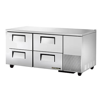 "superior-equipment-supply - True Food Service Equipment - True Stainless Steel 67"" Wide Two Section Four Drawer Deep Undercounter Refrigerator"