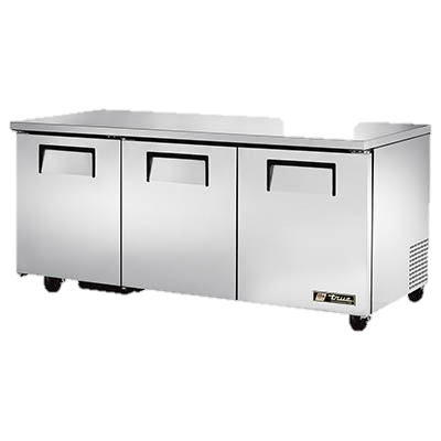 "superior-equipment-supply - True Food Service Equipment - True Stainless Steel 72"" Wide Three Section Undercounter Refrigerator"
