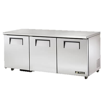 "superior-equipment-supply - True Food Service Equipment - True Stainless Steel 72"" Wide Three Section ADA Undercounter Refrigerator"