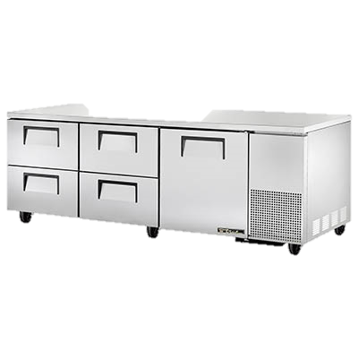 "superior-equipment-supply - True Food Service Equipment - True Stainless Steel Three Section Four Drawer 93"" Wide Undercounter Refrigerator"
