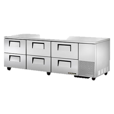 "superior-equipment-supply - True Food Service Equipment - True Stainless Steel Three Section Six Drawer 93"" Wide Undercounter Refrigerator"