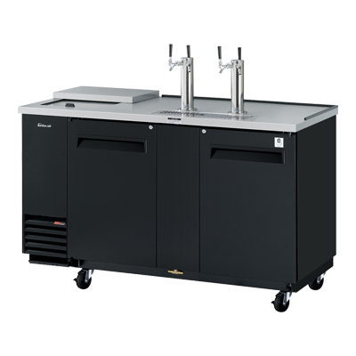 "superior-equipment-supply - Turbo Air - Turbo Air Black Laminated Exterior Two-Door 69.13"" Wide Club Top Beer Dispenser"