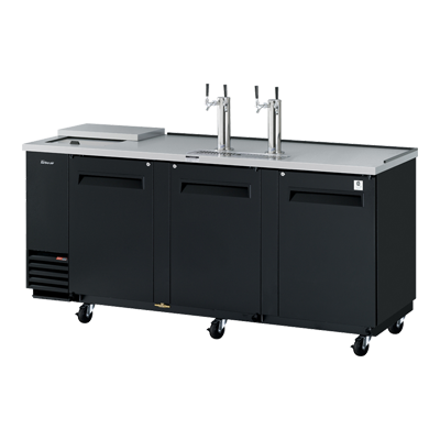 "superior-equipment-supply - Turbo Air - Turbo Air Black Laminated Exterior Three-Door 90.38"" Wide Club Top Beer Dispenser"