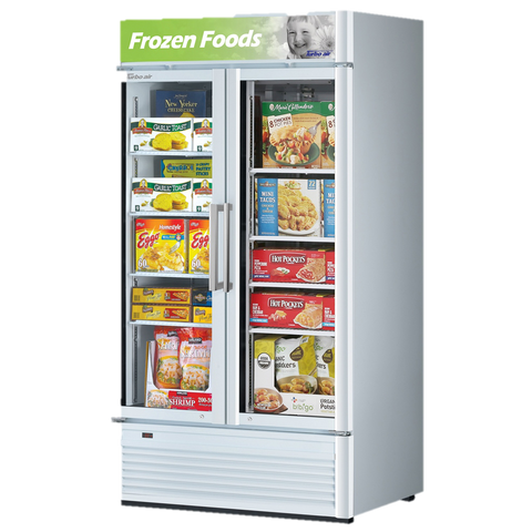 "superior-equipment-supply - Turbo Air - Turbo Air 39.5"" Wide Two-Section Super Deluxe Glass Freezer Merchandiser"