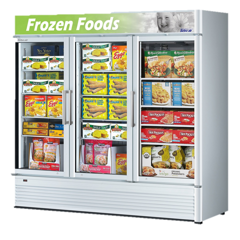"superior-equipment-supply - Turbo Air - Turbo Air 78"" Wide Three-Section Super Deluxe Glass Freezer Merchandiser"