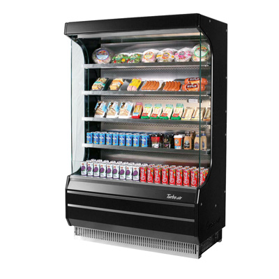 Turbo Air 12.5 Cubic Feet Black Exterior Open Merchandiser