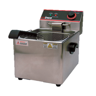 superior-equipment-supply - Winco - Winco Stainless Steel Single Well 16 lb. Oil Capacity Countertop Electric Deep Fryer