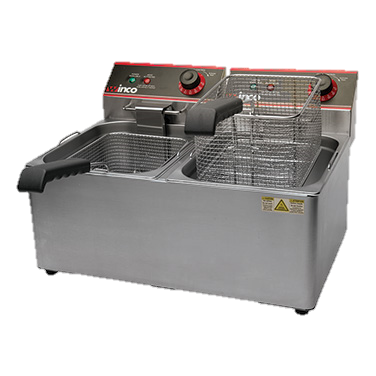 superior-equipment-supply - Winco - Winco Stainless Steel Double Well Electric Countertop Deep Fryer Two 16 lb. Oil Capacity Tanks