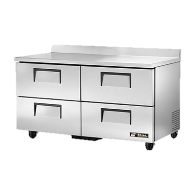 "superior-equipment-supply - True Food Service Equipment - True Stainless Steel Two Section Four Drawer 60"" Wide Work Top Refrigerator"