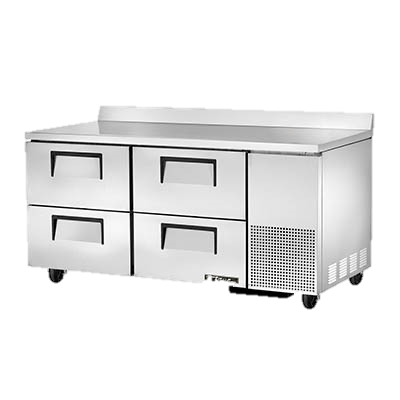 "superior-equipment-supply - True Food Service Equipment - True Stainless Steel 67"" Wide Two Section Four Drawer Deep Work Top Refrigerator"