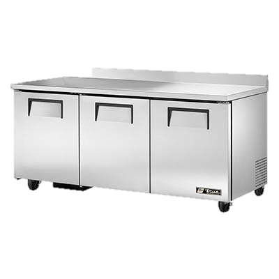 "superior-equipment-supply - True Food Service Equipment - True Stainless Steel Three Section 72"" Wide ADA Work Top Refrigerator"