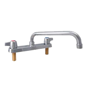 "superior-equipment-supply - BK Resources - BK Resources Deck Mount Standard Duty Faucet Chrome Finish 8"" Gooseneck Spout"
