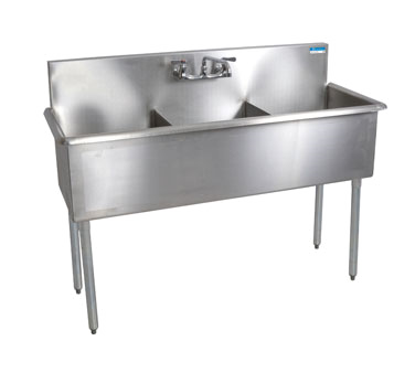 "BK Resources Stainless Steel Three Compartment Budget Sink 12"" Wide"