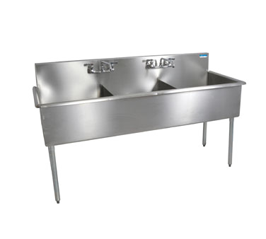 "BK Resources Stainless Steel Three Compartment Budget Sink 75"" Wide"