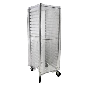 "BK Resources Heavy Duty Clear Plastic Bun Pan Rack Cover 28"" Wide"