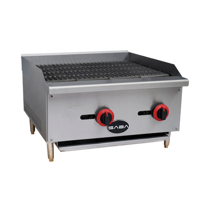 "SABA Stainless Steel 24"" Wide Countertop Gas Radiant Charbroiler"