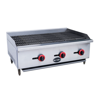 "SABA Stainless Steel 36"" Wide Countertop Gas Radiant Charbroiler"