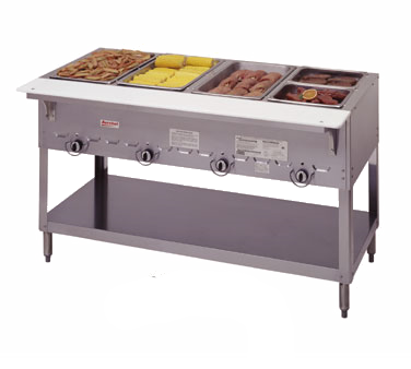 "superior-equipment-supply - Duke Manufacturing - Duke Manufacturing, Aerohot Steamtable Hot Food Unit, 58-3/8""L, Gas, (4) 12"" x 20"", Hot Food Wells, Stainless Steel Top & Open Base"