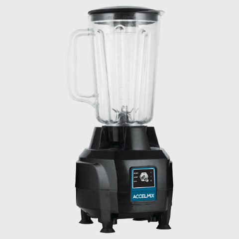 Winco AccelMix Commercial Blender Black BPA Free Clear Plastic 44 oz.