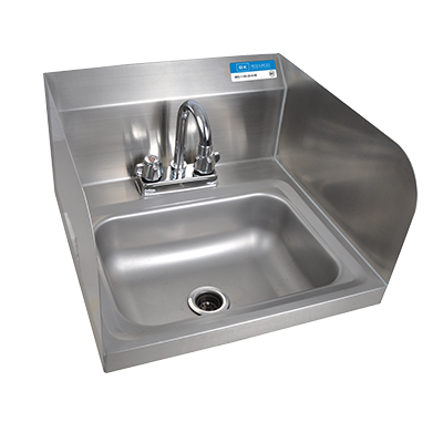 "BK Resources Stainless Steel Wall Mount 14"" Wide Hand Sink With 4"" Deck Mount Faucet"