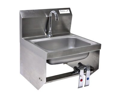 "superior-equipment-supply - BK Resources - BK Resources Stainless Steel Wall Mount 14"" Wide Hand Sink With 3-1/2"" Gooseneck Spout"