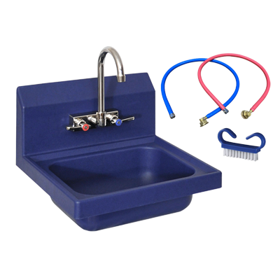 "superior-equipment-supply - BK Resources - BK Resources Antimicrobial 17"" Wide Hand Sink Full Package Kit With EVO-4SM-4G T-304 Cast Stainless Steel Faucet"
