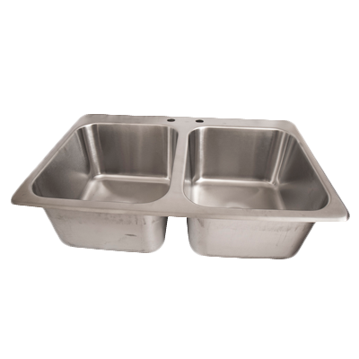 "BK Resources Stainless Steel Two Compartment Drop-In Sink Two 14"" Wide Deep Bowls"