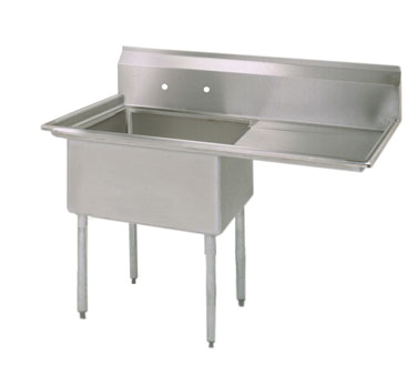 "BK Resources Stainless Steel 36-1/2"" Wide One Compartment NSF Sink With 18"" Right Drainboard"