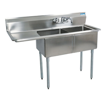 "BK Resources Stainless Steel Two Compartment NSF Sink With 18"" Left Drain Board"