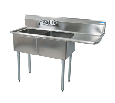 "superior-equipment-supply - BK Resources - BK Resources Stainless Steel Two Compartment NSF Sink With 18"" Right Drainboard"