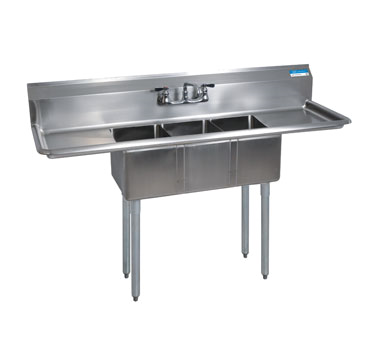 "BK Resources Stainless Steel Three Compartment NSF Sink With 12"" Left & Right Drainboards"