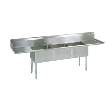 "BK Resources Stainless Steel Three Compartment NSF Sink With 24"" Left & Right Drainboards"