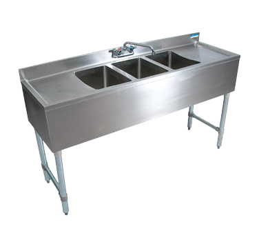 "BK Resources Stainless Steel Three Compartment Underbar NSF Sink With 25"" Stamped Left & Right Drainboards"