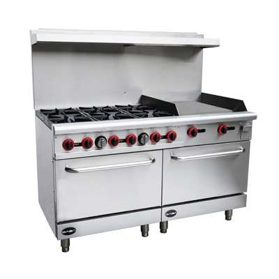"SABA Stainless Steel Six Burner 60"" Wide Gas Restaurant Range With 12"" Griddle & Two Standard Ovens"