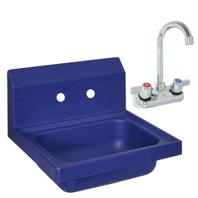 "superior-equipment-supply - BK Resources - BK Resources Antimicrobial 17"" Wide Hand Sink With BKF-W-3G-G Splash Mount Faucet"