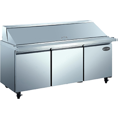 "SABA Three-Section Mega-Top Prep Table 70-3/8""W 15.5 cu.ft. 440 Liter Capacity"