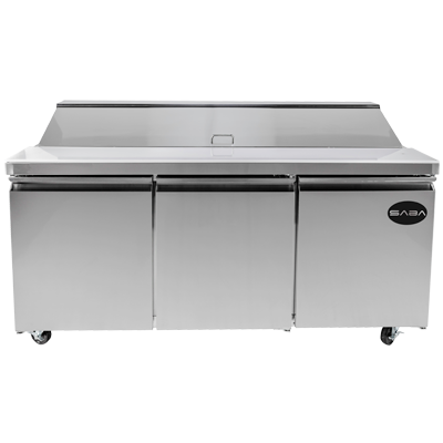"SABA Three-Section Sandwich/Salad Prep Table 70-3/8""W 15.5 cu.ft. 440 Liter Capacity"