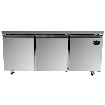 "SABA Three-Section Under-Counter Refrigerator 72""W 15.5 cu.ft."