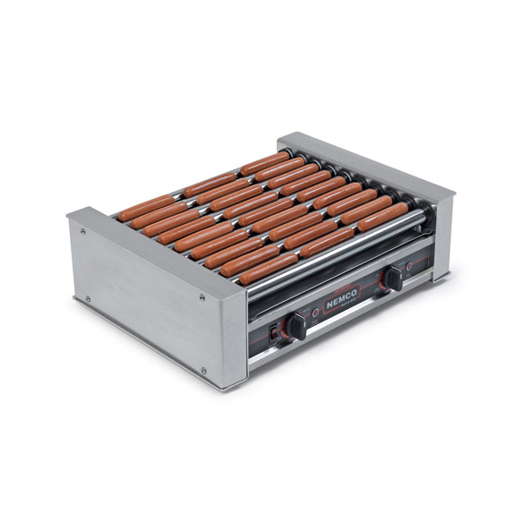 superior-equipment-supply - Nemco Inc - Nemco Roll-A-Grill Hot Dog Grill Aluminum and Stainless Steel Construction 10 Chrome Rollers 36 Hot Dog Capacity