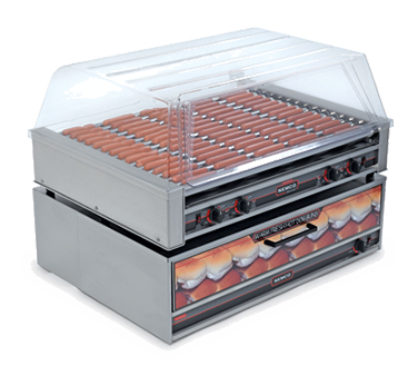 superior-equipment-supply - Nemco Inc - Nemco Roll-A-Grill Aluminum and Stainless Steel Construction Hot Dog Grill With 16 Chrome Rollers and 75 Hot Dog Capacity