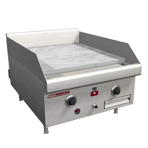 "Southbend Stainless Steel Gas 18"" Wide Countertop Griddle with 1"" Steel Plate and Thermostatic Controls and Splash Guard"
