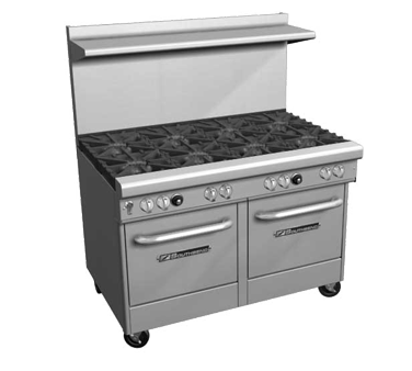 "Southbend Stainless Steel Gas 48"" Wide Restaurant Range with (7) Burners and Cabinet Base"