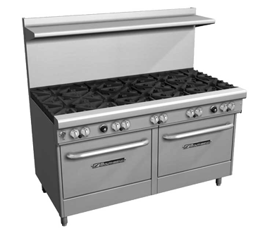 "Southbend Stainless Steel Gas 60"" Wide Restaurant Range with (9) Burners and (2) Standard Ovens"