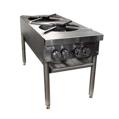 "Southbend Stainless Steel Gas 18"" Wide Double Stock Pot Range with (2) Burners and Manual Controls"