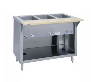 "Duke Thurmaduke™ Steamtable 46""W x 36""H x 25.5""D Stainless Steel Body Copper Manifolds Brass Valve With Adjustable Legs"