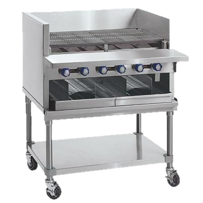 "Imperial Stainless Steel Gas Countertop 48"" Wide Smoke Broiler"