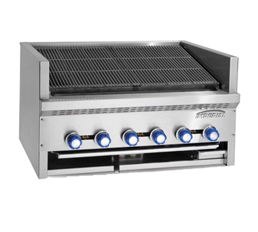 "Imperial Steakhouse Stainless Steel Six Burner 36"" Wide Gas Countertop Charbroiler"