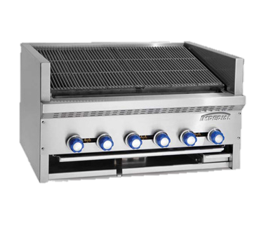 "Imperial Stainless Steel Five Burner 30"" Wide Steakhouse Countertop Gas Charbroiler"