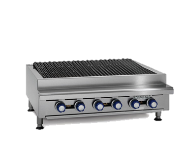 "Imperial Stainless Steel 72"" Wide Gas Countertop Charbroiler"